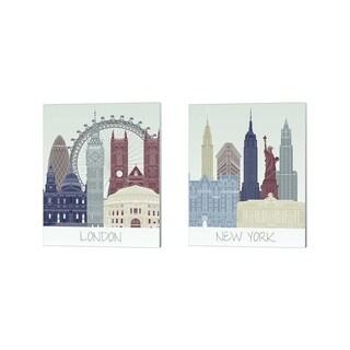 Fab Funky 'London & New York Skyline' Canvas Art (Set of 2)
