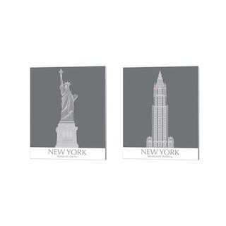 Fab Funky 'New York Statue of Liberty & Woolworth Building Monochrome' Canvas Art (Set of 2)