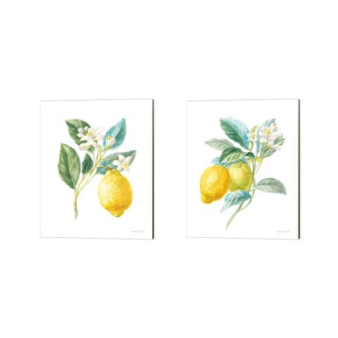 Danhui Nai 'Floursack Lemon on White' Canvas Art (Set of 2)