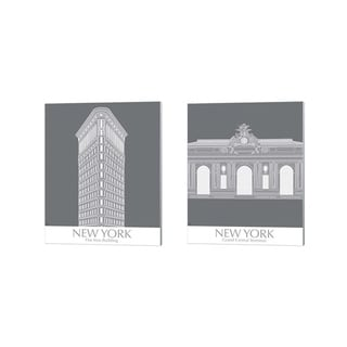 Fab Funky 'New York Flatron Building & Grand Central Monochrome' Canvas Art (Set of 2)
