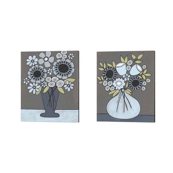Regina Moore 'Happy Garden Flowers' Canvas Art (Set of 2)