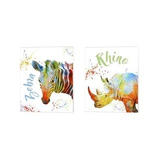 Jean Plout 'Colorful Safari Animals 1' Canvas Art (Set of 2) - 12 x 15