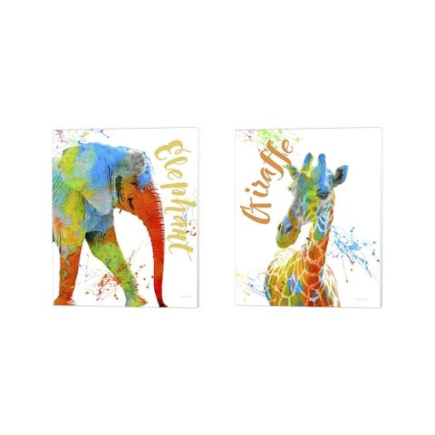Jean Plout 'Colorful Safari Animals 2' Canvas Art (Set of 2) - 12 x 15