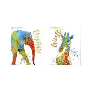 Jean Plout 'Colorful Safari Animals 2' Canvas Art (Set of 2)