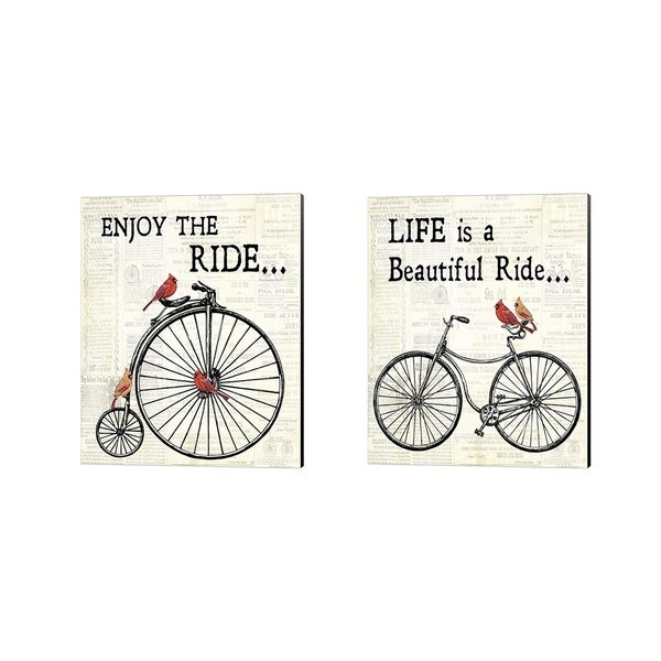 Porch & Den Kalyca Jean Plout 'Bicycle With Cardinals' Canvas Art (Set of 2)