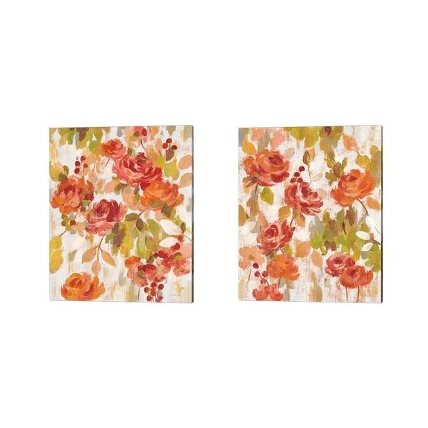 Silvia Vassileva 'Red and Orange Brocade' Canvas Art (Set of 2)