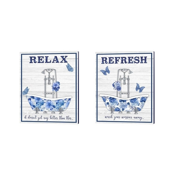 Jean Plout 'Blue Floral Bath Art' Canvas Art (Set of 2)