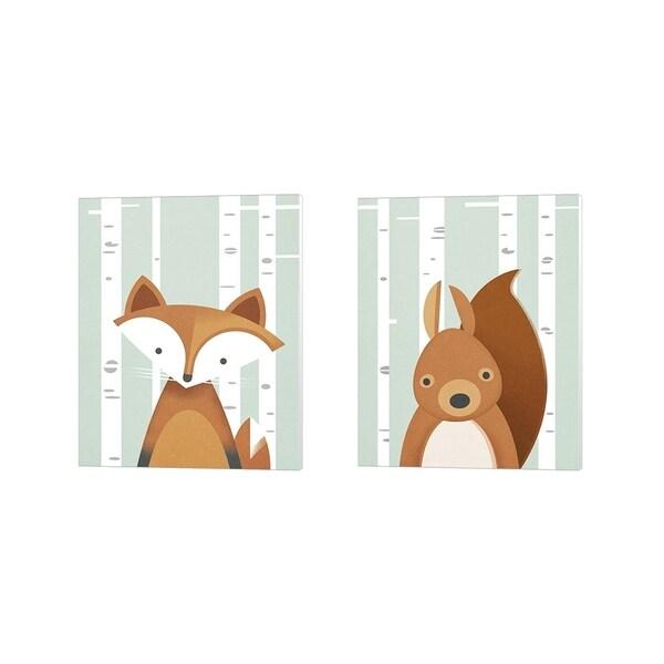 Martin Wickstrom 'Fox & Squirrel' Canvas Art (Set of 2)