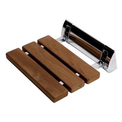 """Polished Chrome 14"""" Folding Teak Wood Shower Seat Bench"""