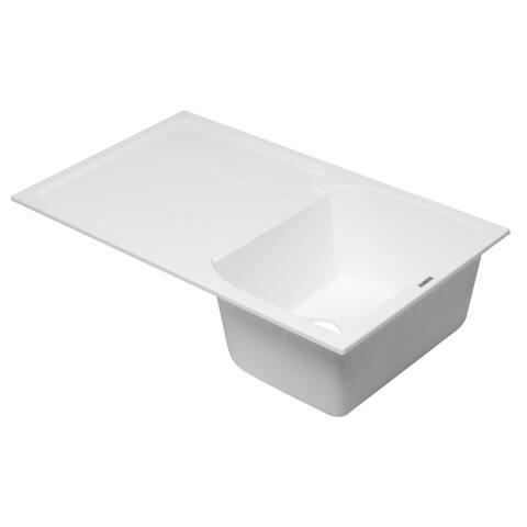 "Titanium 34"" Single Bowl Granite Composite Kitchen Sink with Drainboard - Silver"
