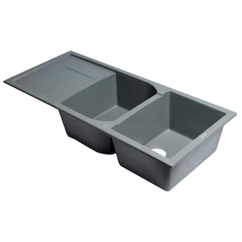 "Titanium 46"" Double Bowl Granite Composite Kitchen Sink with Drainboard"