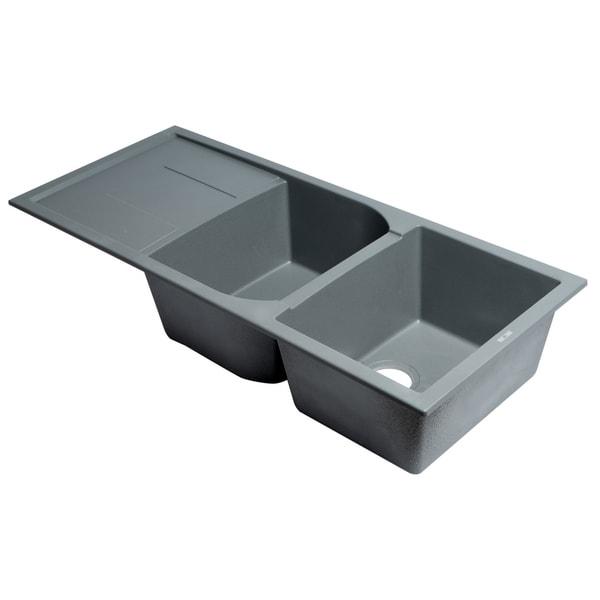 """Shop Titanium 46"""" Double Bowl Granite Composite Kitchen ..."""