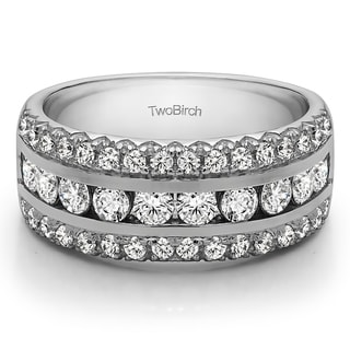 Platinum Three Row Fishtail Set Anniversary Ring Mounted With Diamonds G H I2 0 51 Cts Twt