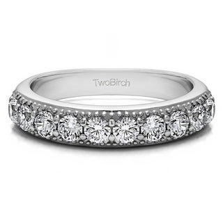 Platinum Millgrained Double Shared Prong Vintage Wedding Ring Mounted With Diamonds G H I2 1 Cts Twt
