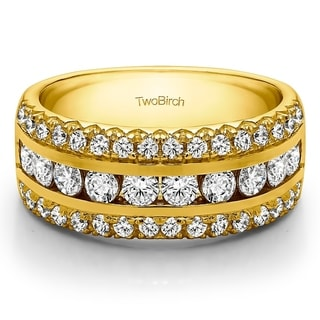 14k Gold Three Row Fishtail Set Anniversary Ring Mounted With Diamonds G H I2 1 98 Cts Twt
