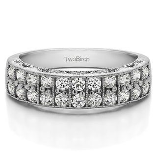 14k Gold Double Row Millgrained Pave Vintage Wedding Ring Mounted With Diamonds G H I2 0 99 Cts Twt