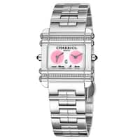 Charriol Women's CCHDTD1.110.HDT02 Actor Mother of Pearl Dial Stainless Steel Diamond Dual Time Swiss Made Quartz Watch