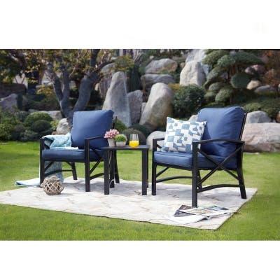 PATIO FESTIVAL 3-Piece Outdoor Conversation Chatting Set w/ Cushions