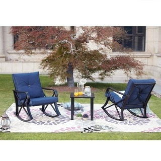 PATIO FESTIVAL ® 3-Piece Outdoor Rocker Conversation Chatting Set w/ Cushions