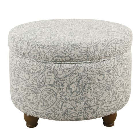 The Curated Nomad Hector Grey Floral Storage Ottoman