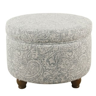 Link to The Curated Nomad Hector Grey Floral Storage Ottoman Similar Items in Cocktail Ottomans