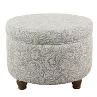 HomePop Storage Ottoman - Gray Floral