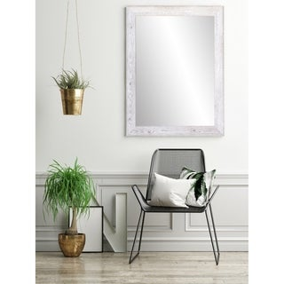 White Washed Farmhouse Accent Mirror - White Washed