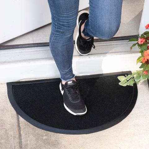 Ottomanson DirtOff Black Pins Design Semi-Circle Rubber Door Mat