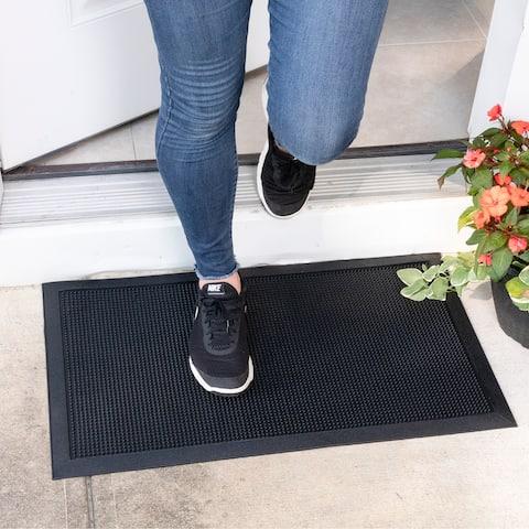 Ottomanson DirtOff Black Pins Design Rectangle Rubber Door Mat