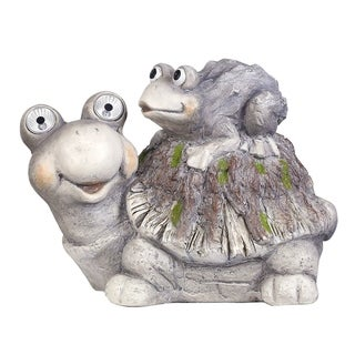 Alpine Solar Turtles White LED Changing Color Eyes Statue, 11 Inch Tall
