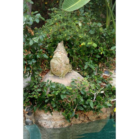 Alpine Mossy Stone Garden Gnome Riding Frog Statue, 19 Inch Tall