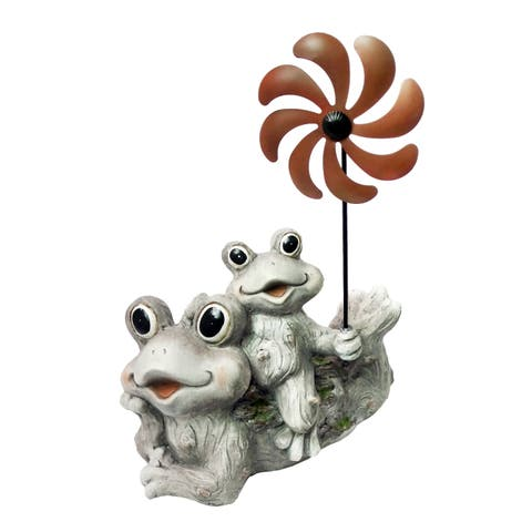 Alpine Two Frogs Holding a Windmill Stake Garden Statue, 19 Inch Tall