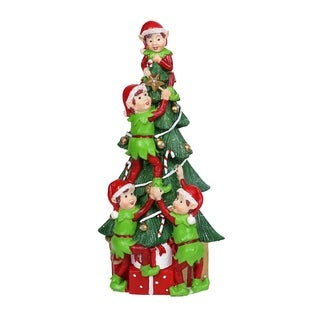 Alpine Corporation Christmas Tree and Stacked Elves Statue with LED Light