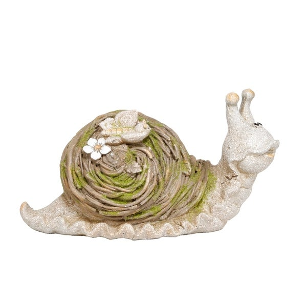 Alpine Mossy Twig Snail Indoor/Outdoor Statue, 9 Inch Tall