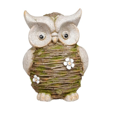 Alpine Mossy Twig Owl Indoor/Outdoor Statue, 13 Inch Tall