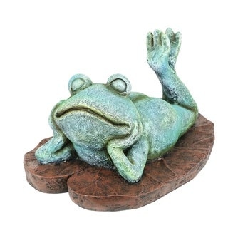 Alpine Frog Laying Down on a Leaf Statue, 8 Inch Tall