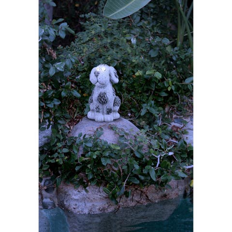 Alpine Corporation Dog Statue with Solar LED Lights