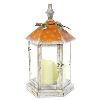 Alpine Christmas Garden Table Lantern w/ White Light, 14 Inch Tall
