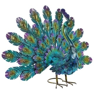 Alpine Metal Peacock Outdoor Statue, 22 Inch Tall