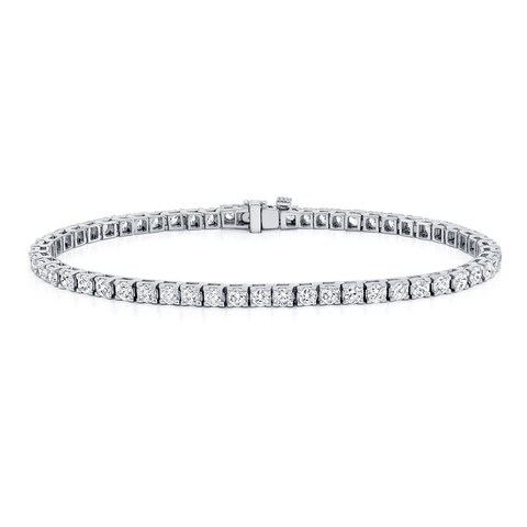 Ethical Sparkle 3ctw Round Lab Created Diamond Tennis Bracelet 14k Gold - 7 Inch
