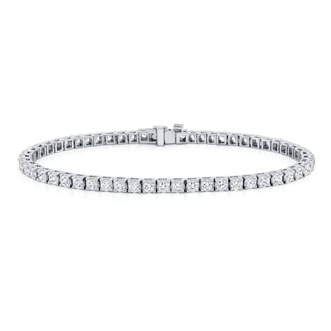 Ethical Sparkle 3ctw Lab Created Round Diamond Tennis Bracelet 14k Gold - 7 Inch