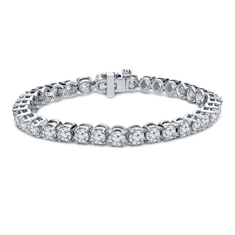 Ethical Sparkle 10ctw Round Lab Created Diamond Tennis Bracelet 14k Gold - 7 Inch
