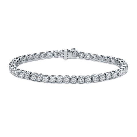 Ethical Sparkle 6ctw Lab Created Round Diamond Tennis Bracelet 14k Gold - 7 Inch
