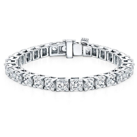 Ethical Sparkle 16 1/2ctw Round Lab Created Diamond Tennis Bracelet 14k Gold - 7 Inch