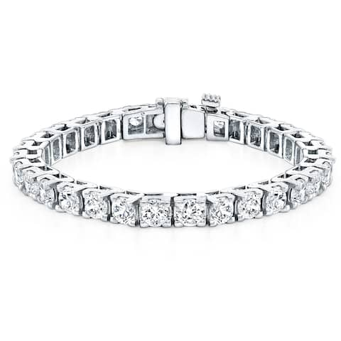 Lab Grown 16 1/2ctw Round Diamond Tennis Bracelet 14k Gold by Ethical Sparkle - 7-inch