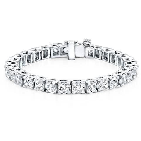 Ethical Sparkle 16 1/2ctw Lab Created Round Diamond Tennis Bracelet 14k Gold - 7 Inch
