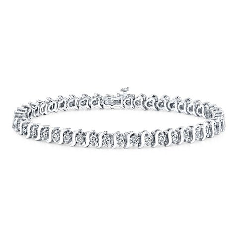 Ethical Sparkle 4ctw Round Lab Created S-Link Diamond Tennis Bracelet 14k Gold - 7 Inch
