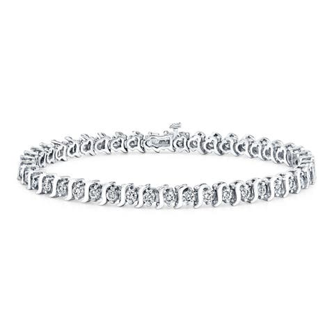 Ethical Sparkle 4ctw Round Lab Created S-Link Diamond Tennis Bracelet 14k Gold - 7 Inch