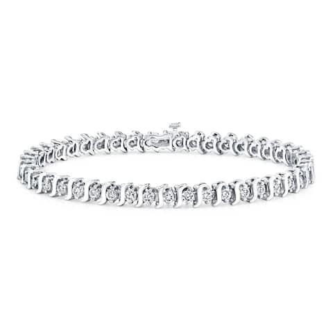 Ethical Sparkle 5ctw Round Lab Created S-Link Diamond Tennis Bracelet 14k Gold - 7 Inch