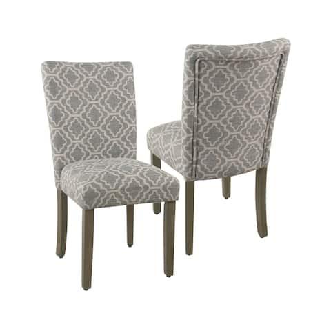HomePop Parsons Ash Grey Geometric Dining Chair (Set of 2)